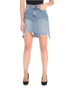 7 For All Mankind - Light blue A-Line short denim skirt