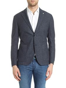 L.B.M. 1911 - Blue textured fabric two-button jacket