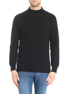 Aspesi - Black knitted ribbed pullover