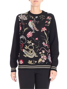 Red Valentino - Black pulllover with flowers and birds embroidery