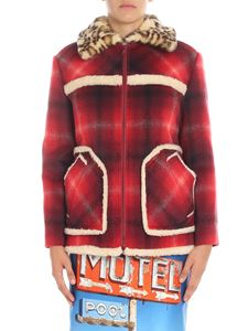 N° 21 - Red jacket with animalier faux fur insert