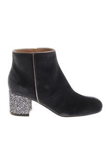 Pollini - Anthracite velvet ankle boots with glittered heel