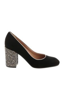 Pollini - Black velvet pumps with glitter heel