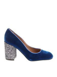 Pollini - Blue velvet pumps with glittered heel