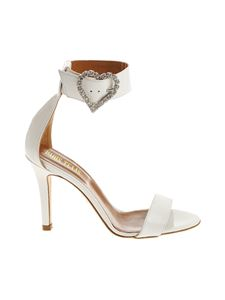Paris Texas - White patent leather sandals with rhinestones
