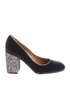 Pollini - Anthracite velvet pumps with glittered heel