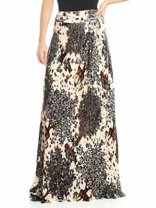 Alberta Ferretti - Powder pink velvet skirt with forest print