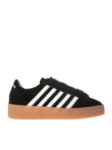 Dsquared2 - Black suede sneakers with white stripes