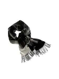 Off-White - Gray check scarf with logo