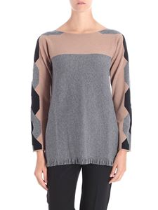 Kangra Cashmere - Gray and brown pullover with cut-out and fringes