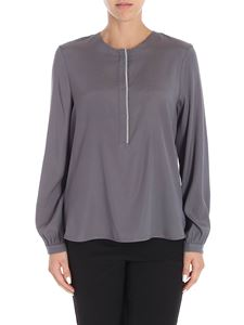 Le Tricot Perugia - Grey blouse with micro beads