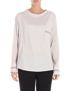 Lorena Antoniazzi - Pearl grey blouse with knitted edges