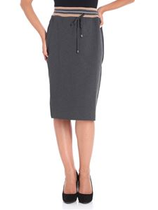 Le Tricot Perugia - Grey sheath skirt with drawstring