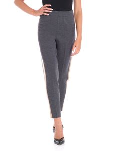 Le Tricot Perugia - Grey knitted trousers with sides band