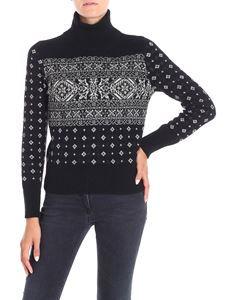 Lorena Antoniazzi - Black pullover with contrasting geometric pattern