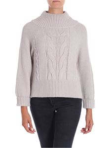 Lorena Antoniazzi - Pearl grey pullover with sequined inserts