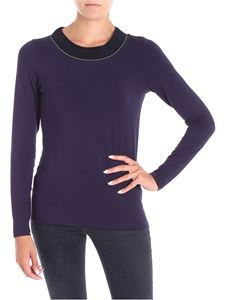 Le Tricot Perugia - Blue T-shirt with knit neckline