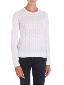 Le Tricot Perugia - White braided patterned pullover