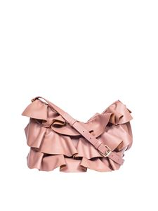 Borbonese - Pink Mezza Luna bag with ruffles
