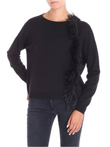 Blugirl - Black boxy sweater with feathers