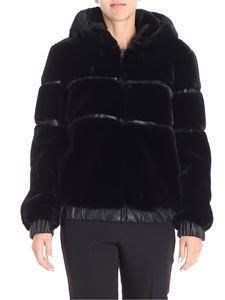 Blugirl - Black hooded eco-fur jacket