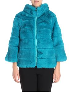 Blugirl - Teal color reversible fur jacket