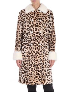 Blumarine - Double-breasted animal printed fur jacket