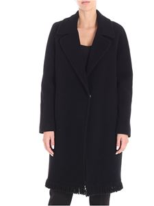 Blugirl - Black single button coat with fringes