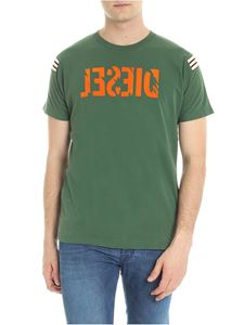 Diesel - Green t-shirt with destroyed effect logo