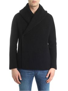 Roberto Collina - Black melange cardigan with wrap closure