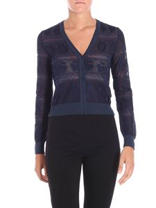 M Missoni - Blue nude effect cardigan with tone on tone embroidery