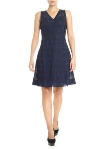 M Missoni - Blue dress with all-over geometric embroidery