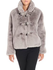 Golden Goose Deluxe Brand - Grey Shedir eco-fur jacket with maxi frog buttons