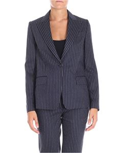 Golden Goose Deluxe Brand - Blue Venice pinstriped one button jacket