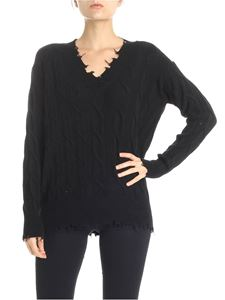 P_JEAN - Babbuino black pullover with worn-out edges