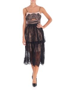 Self-Portrait - Black lace dress with flounced skirt