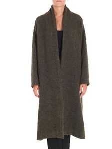 P_JEAN - Dromedario army green wool blend coat