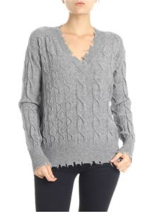 P_JEAN - Babbuino gray pullover with worn-out edges