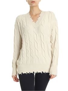 P_JEAN - Babbuino white pullover with worn-out edges