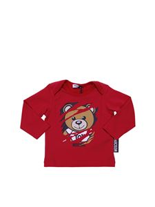 Moschino Kids - Red crewneck t-shirt with logo