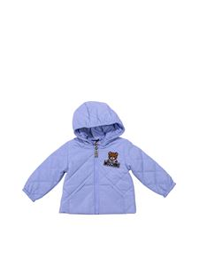 Moschino Kids - Light blue padded hooded jacket