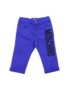 Moschino Kids - Electric blue stretch cotton trousers