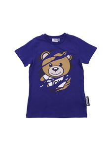 Moschino Kids - Teddy Bear blue T-shirt with worn out effect