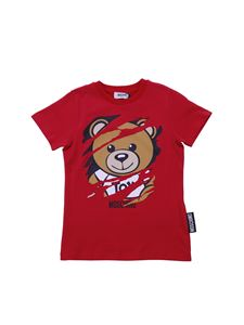 Moschino Kids - Teddy Bear red T-shirt with worn out effect