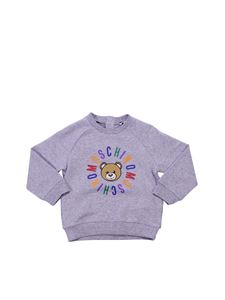 Moschino Kids - Melange grey crewneck sweatshirt with logo