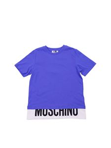 Moschino Kids - Blue and white t-shirt with logo