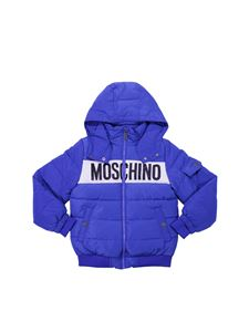 Moschino Kids - Blue hooded jacket and logo