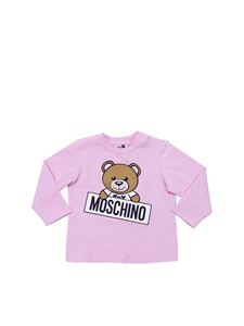 Moschino Kids - Pink crewneck T-shirt with Teddy Bear print