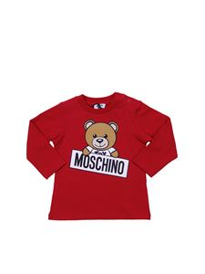 Moschino Kids - T-shirt girocollo rossa con stampa Teddy Bear