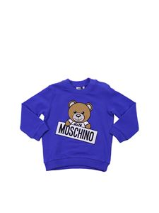 Moschino Kids - Blue crewneck sweatshirt with logo print